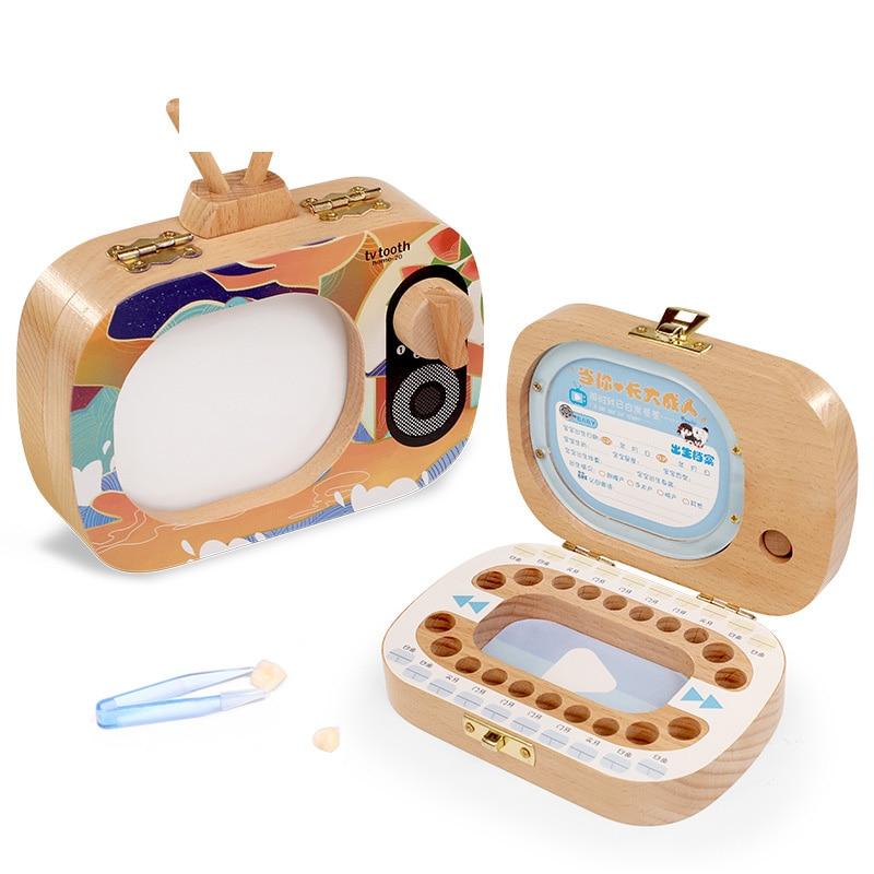 Wood Baby Tooth Box Wooden Milk Teeth Box Tooth Organizer Storage Boys Girls Save Souvenir Case  For Children Gifts