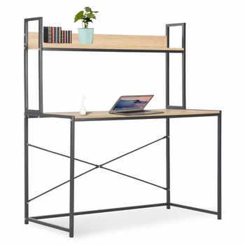 Simple Computer Desk Metal Frame Chipboard Modern Desk With Shelves Home Office Desk Table Black and Oak Writing Desktop - DISCOUNT ITEM  25 OFF Furniture