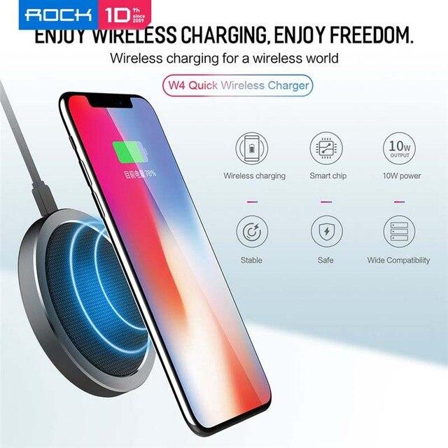 ROCK 10W W4 2A Qi Caricatore Senza Fili per IPhone X 8 8 Più Veloce di Ricarica Caricabatterie per il Samsung s9 S8 S7 беспроводная зарядка