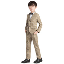 Children's Plaid Dress Suit Set Kids Student Host Wedding Performance Costume Bo
