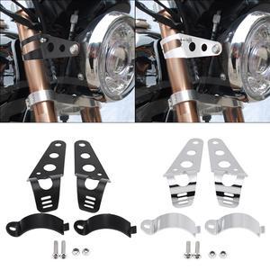 Image 1 - 1 par de soporte para el faro delantero de la motocicleta soporte de montaje Universal de acero inoxidable, accesorios para motocicletas negro/plateado