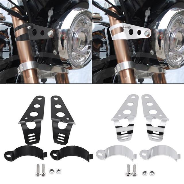 1 par de soporte para el faro delantero de la motocicleta soporte de montaje Universal de acero inoxidable, accesorios para motocicletas negro/plateado