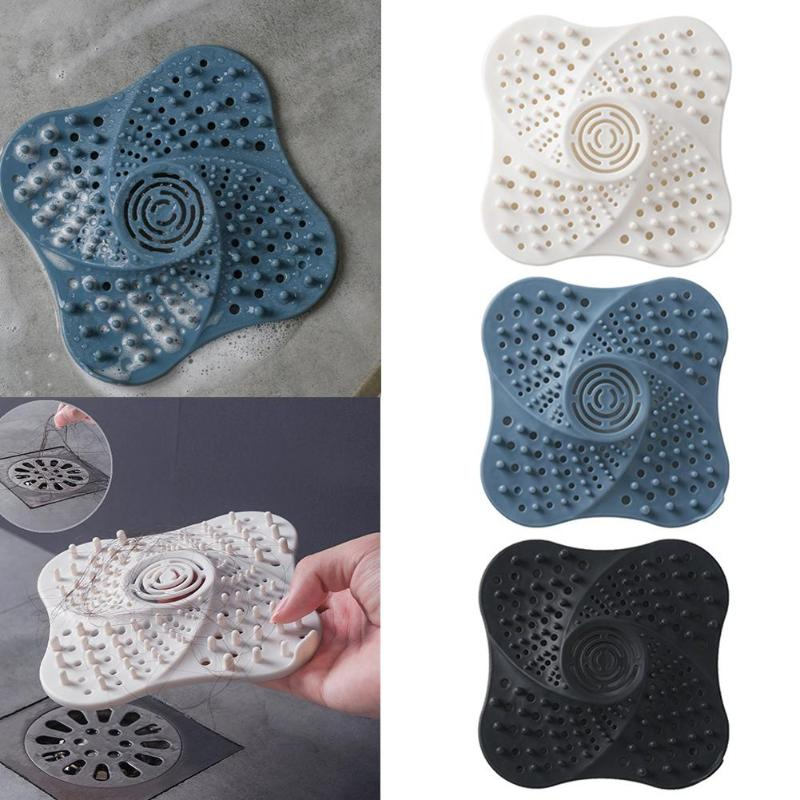 Silicone Hair Stopper Anti-Block Floor Drain Silicone Sucker Sewer Outfall Strainer Sink Filter Bathing Room