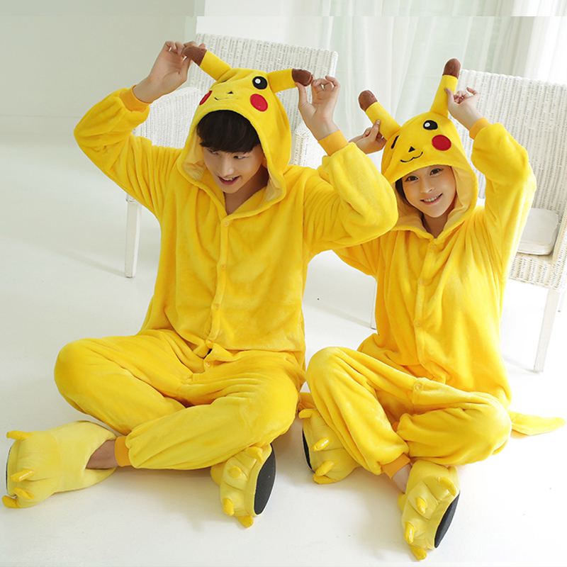 Kigurumi Unicorn Pajama Adult Animal Pikachu Onesie Men Women Couple 2019 Winter Pajamas Suit Onesies Sleepwear Flannel Pijamas