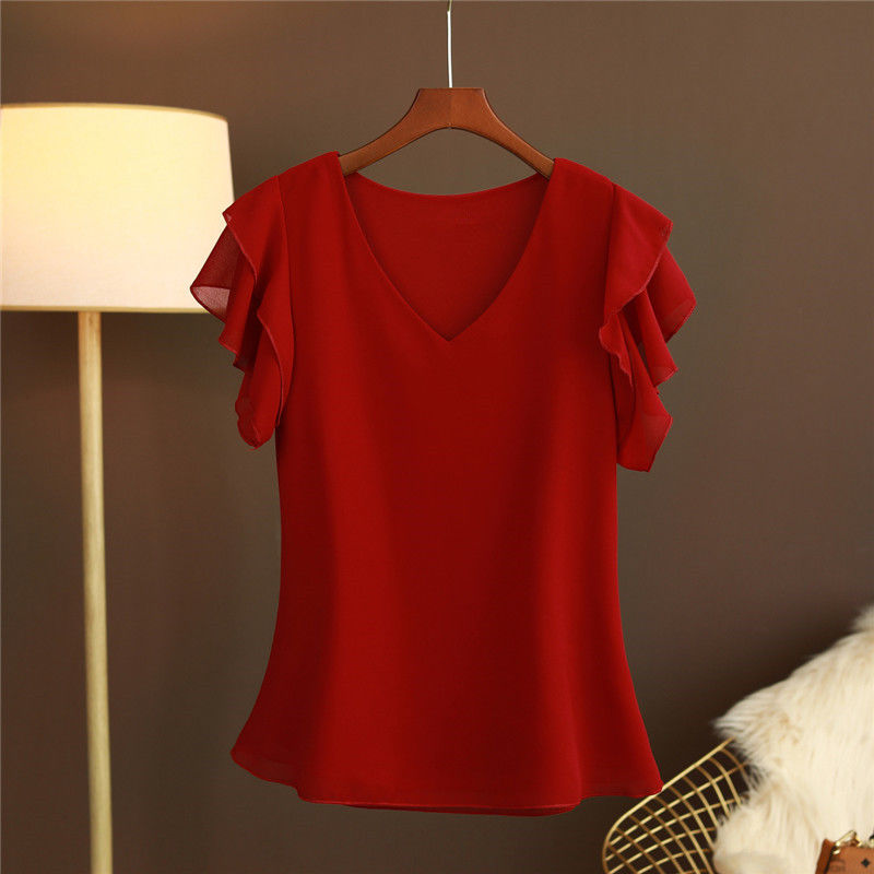 2021 New Fashion Women's blouse Tops Summer Short sleeve Chiffon shirt Solid V-neck Casual blouse Plus Size 5XL Loose Female Top 4