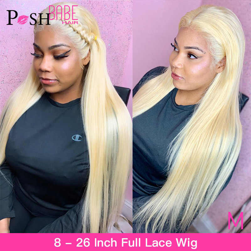 Full Lace Human Hair Wigs 613 Blonde Remy 8 - 26 inch Long Brazilian Straight Pre Plucked Glueless Full Lace Wig with Baby Hair