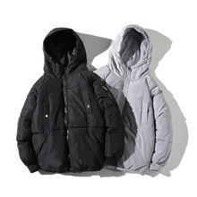 Mens Cotton-padded Hooded Coat Slim Warm Padded Jacket Parkas Winter Down Cotton Suit