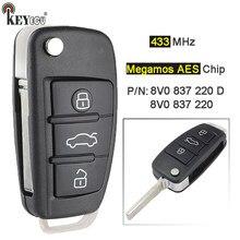 Keyecu 433mhz p/n: 8v0 837 220 d 8v0837220d/8v0837220 keyless remoto carro chave fob para audi a3 s3 2012 2013 2014 2015