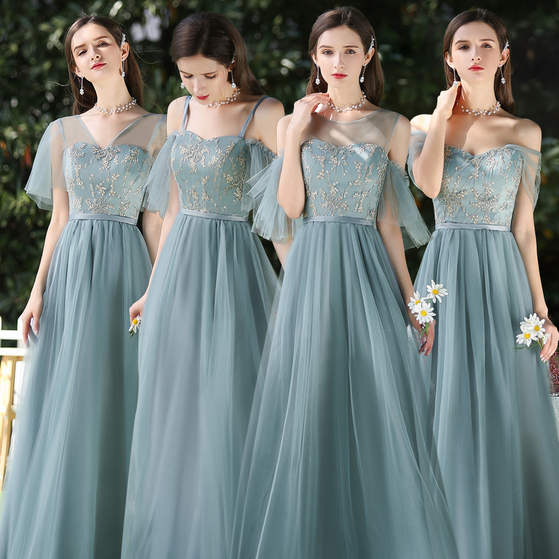 Sexy Prom Dress Wedding Guest Dress Long For Wedding Party For Woman Vestido Azul Marino A-Line Forest Green Bridesmaid Dresses