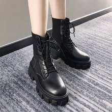 Black Patent Leather Martin Boots for Women Lace Up Platform