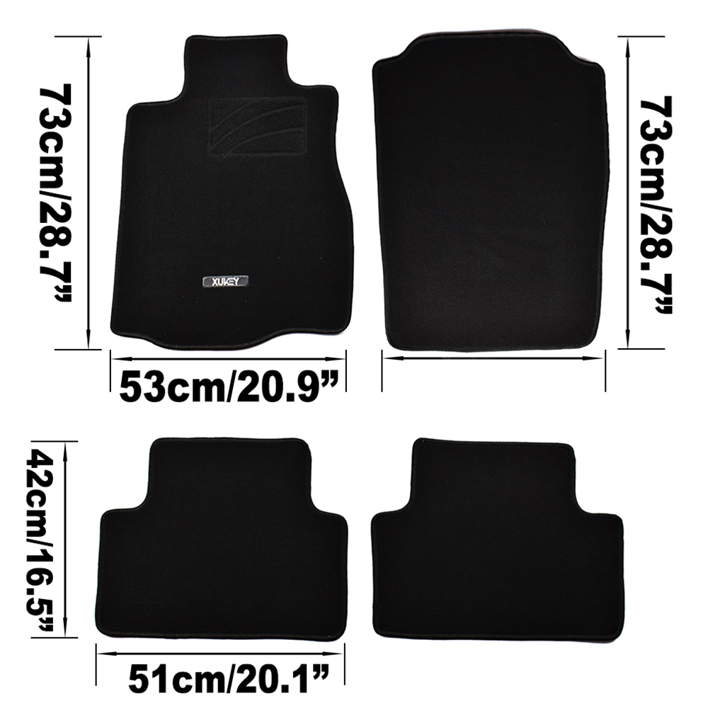 Black Carpet Car Floor Mats Tailored to Perfectly fit Fiat 500 Fixings 07-12