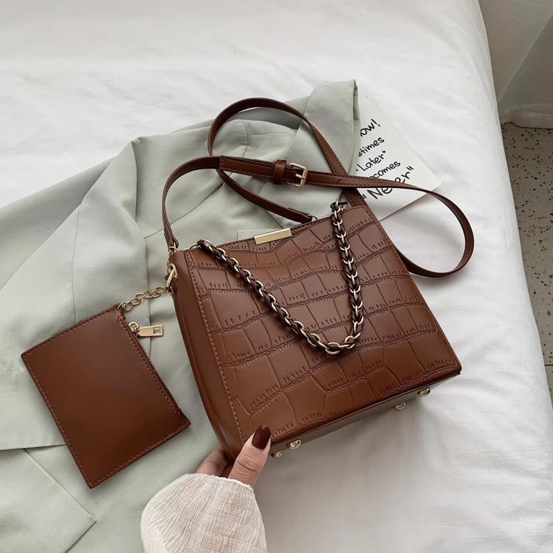 2928.0¥  Stone Pattern PU Leather Handbag Women Casual bucket Bag Female Large Shoulder High Qualit...
