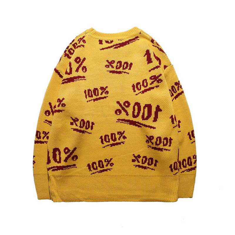 Suéteres plisados para hombre pulóver de moda cuello redondo de albaricoque suéteres de Hip Hop avanzado 100% tejido de otoño Unisex ropa de calle de gran tamaño