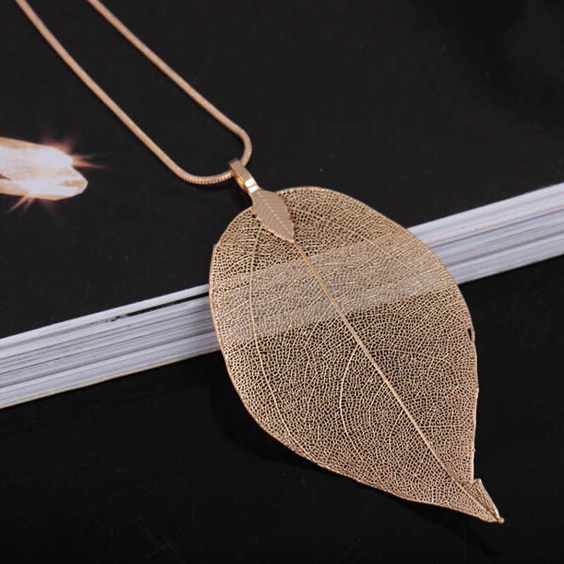 Moda biżuteria naszyjnik maxi różowe złoto kolor łańcuch prawdziwy liść urok projekt wisiorek naszyjniki kobiety collier femme prezent