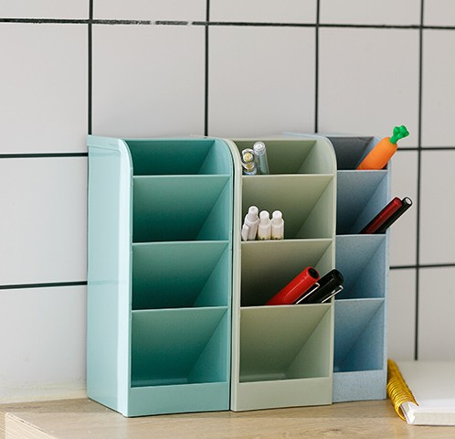 1 Pc Cosmetic Box For Small Goods Handy Kitchen Storage Case 4 Grid Desktop Organizer Office Pen Pencil Holder 4 Colors