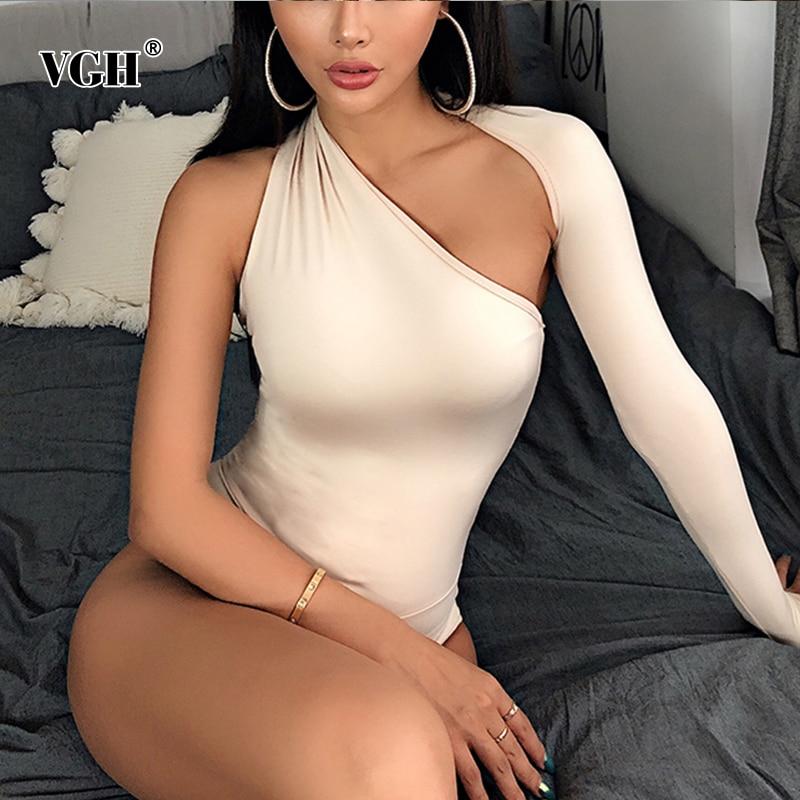 VGH Sexy Asymmetrical Women Bodysuits Irregular Collar Long Sleeve High Waist Slim Short Jumpsuits For Female Fashion Summer New
