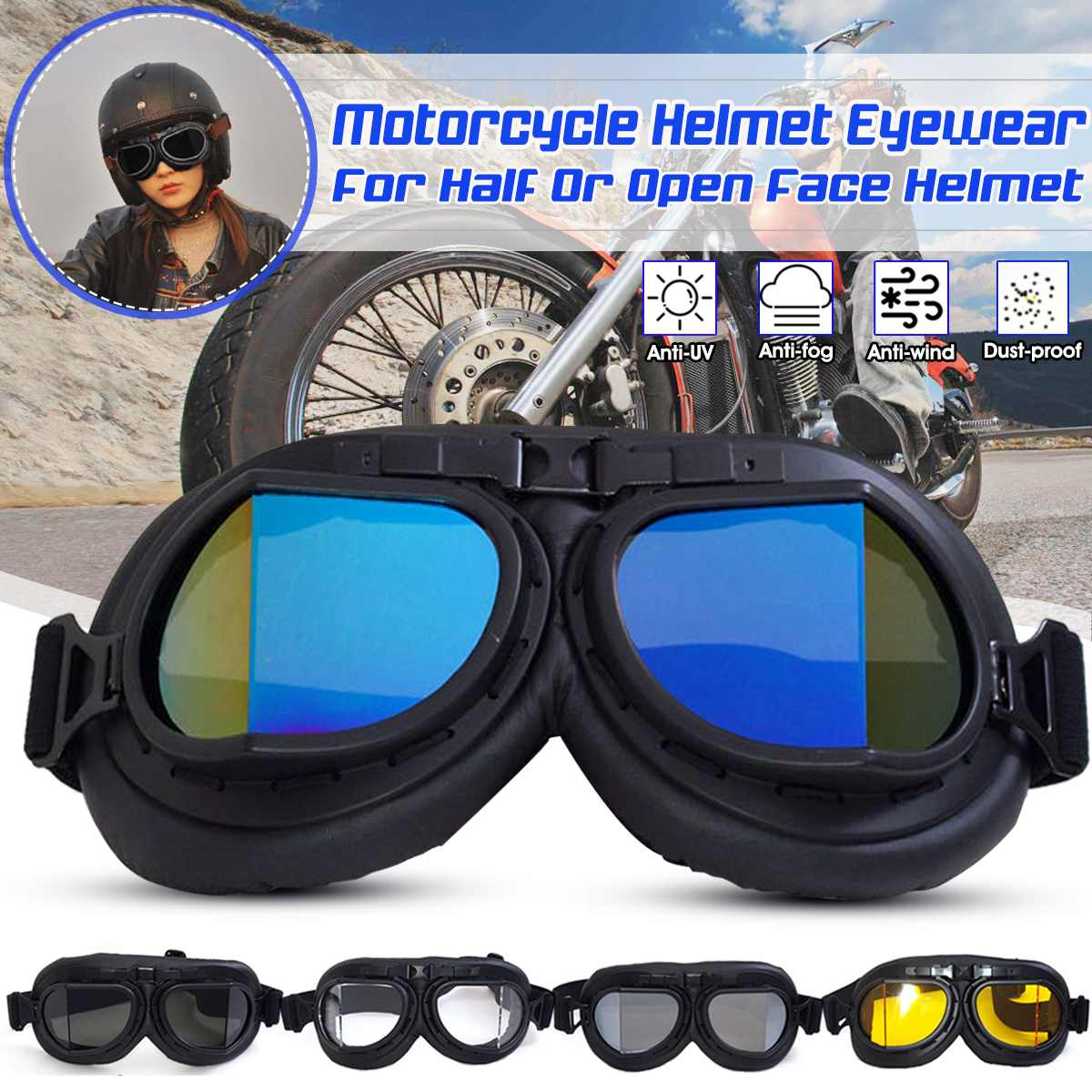 Retro Motorcycle Goggles Glasses Vintage Motocross Helmet Goggles Glasses Windproof Protection
