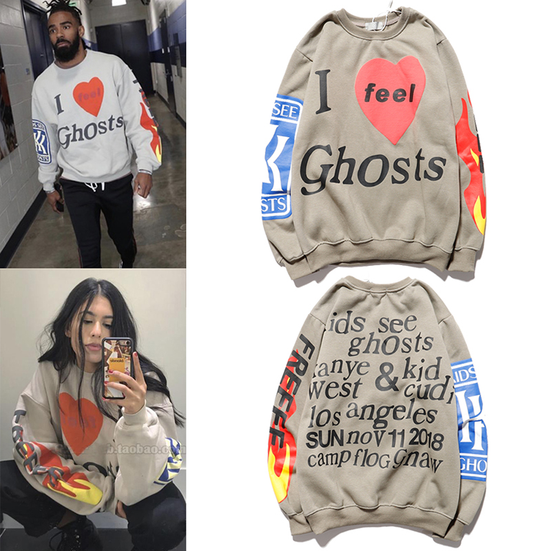 Kanye West Love Letter Print Plus Velvet Sweatshirt Men Xxxtentacion Hoodies StrangerThings Pullover Fleece Mens Hoodies Sherpa