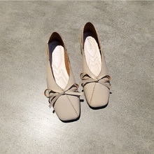Soft Leather Bow Ballet Flat Shoes Women Square Toe Slip On Loafers Ladies Boat Shoes Moccasins Spring Summer Female Shoes