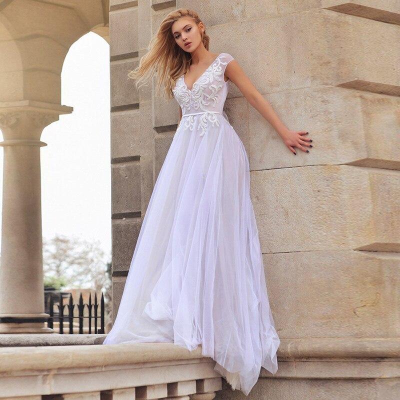 Eightale Beach Wedding Dress V-Neck Appliques Cap Sleeves A-Line Backless Princess Boho Wedding Gowns Custom Made Bridal Dresses