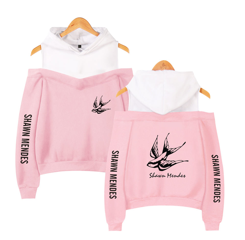 Shawn Mendes Hit Single Senorita Fans Favorite Pink Off Shoulder Hoodies Women Autumn Winter Fashion Casual Sweatshirts Pullover