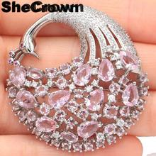 43x42mm Big PeacockShape Created Pink Kunzite Tourmaline Mother's Day Gift Silver Brooch