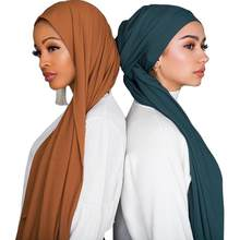 Hot Sell High Quality 85*180CM Muslim Cotton Scarf Ribbed Jersey Hijab Crinkle Scarves Shawls Cotton Headscarf For Women