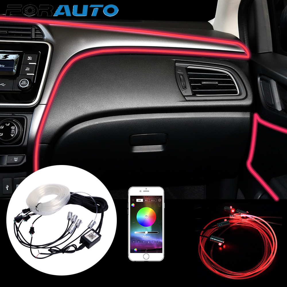 FORAUTO 6 Meter Car Interior Light Fiber Optic Atmosphere Lamps RGB Ambient Lamp App Remote Control