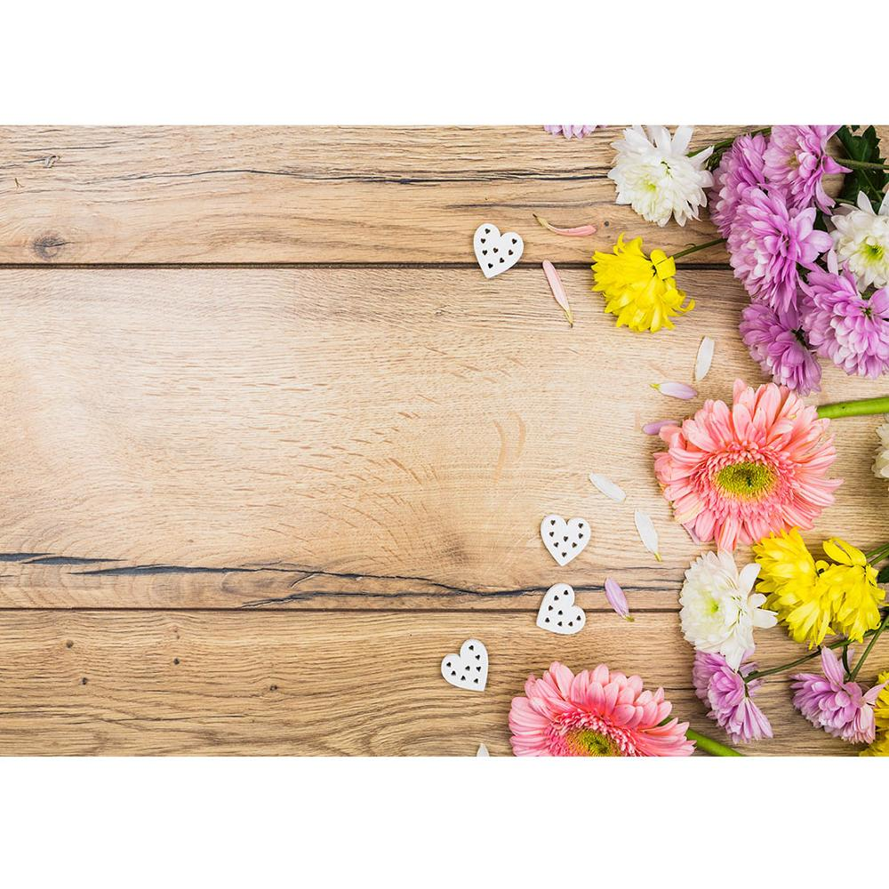 Coloful Flowers and Pink Wooden Board Wedding Baby Photography Background Custom Photography Studio Photography Background