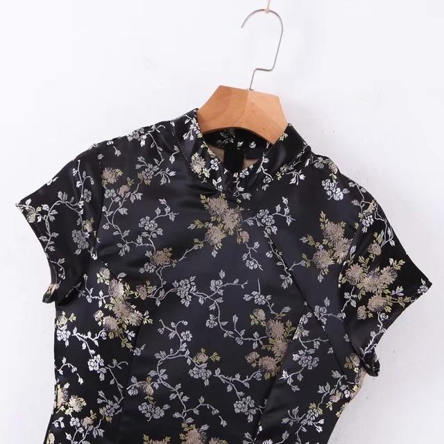 Women Mandarin Collar Jacquard Mini Dress In Black Chinese Style Mini Dress 5