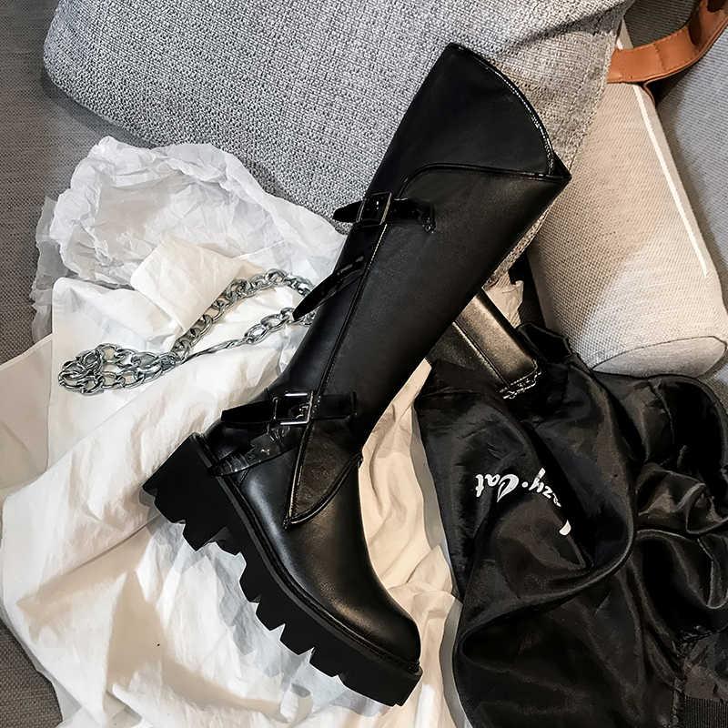 Echt leer dikke hoge hakken platform knie laarzen vrouw gesp vrouwen laarzen herfst winter mode motorfiets schoenen maat 41 42