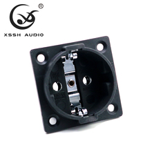 XSSH audio Copper Plated Rhodium Neutral AC 250V 16A EU Euro 2 pin IEC inlet Power Uitimate H Schuko Chassis socket