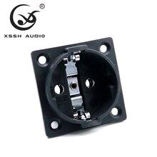 XSSH Âm Thanh Đồng Mạ Rhodium Trung Lập AC 250V 16A EU Euro 2 Pin IEC Cửa Hút Gió Công Suất Uitimate H Schuko khung Xe Ổ Cắm