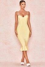 2019 新夏包帯ドレス女性のエレガントなクラブパーティードレスセクシーなノースリーブ黄色のマーメイドドレス Vestido