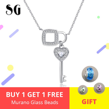 Romantic 925 Sterling Silver Key of Heart Lock Chain Pendant Necklaces for Women Sterling Silver Jewelry Collar Free Shipping цена в Москве и Питере