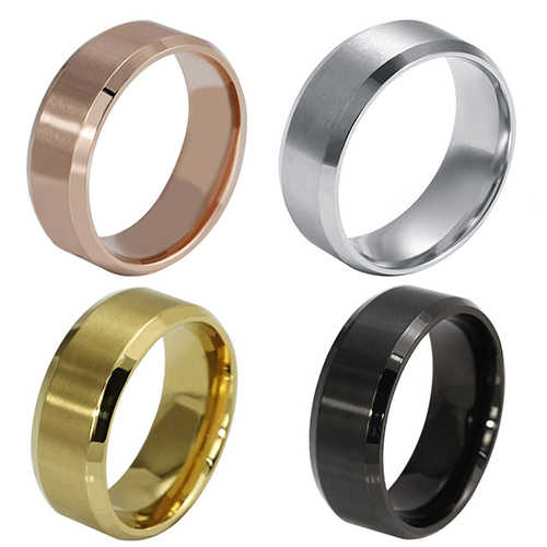 1 sztuk 2019 nowy Glamour tytanowy pierścień złoty antyalergiczny gładkie proste pary ślubne pierścienie biżuteria dla mężczyzny lub kobiety prezent