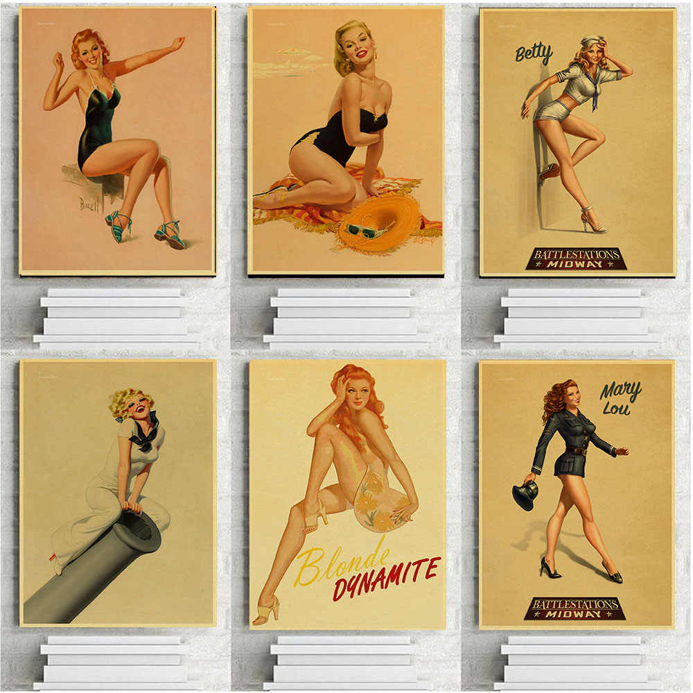 Classic Vintage World War Ii Sexy Pin Up Girl Poster Military Bar