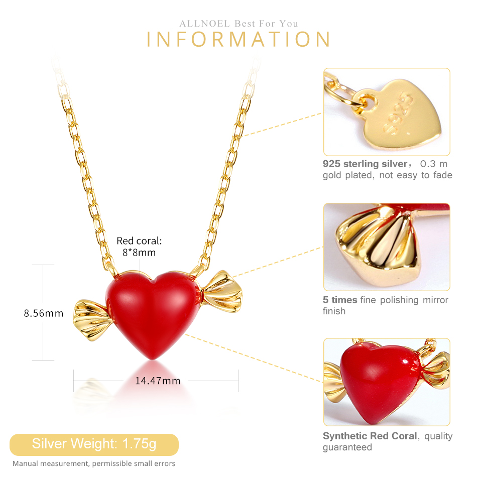 ALLNOEL Real 925 Sterling Silver 9K Gold synthetic coral Heart Pendant Necklaces Jewelry Gift For Women Fine Jewelry 2019 NEW  (3)