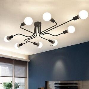 Image 3 - Lampe suspendue en fer forgé à plusieurs tiges, design moderne, luminaire Vintage, luminaire de plafond, ampoules E27, pendentif LED