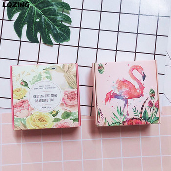 50x Craft Paper Party Decor Packing Box Small Cardboard Jewelry Gift Boxes Flamingo/Flower Square Soap Kraft Box Carton Folding