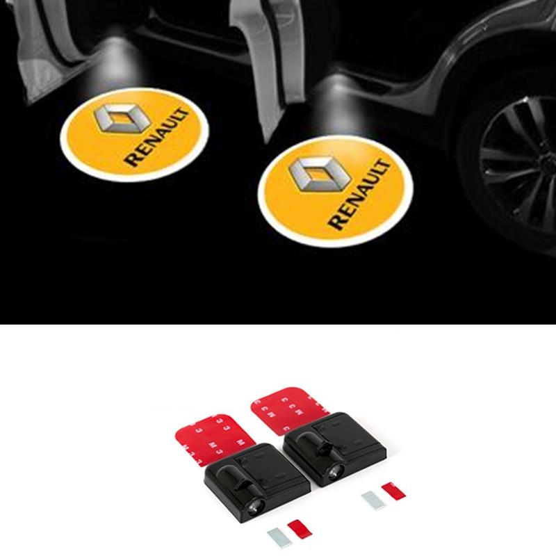 2x LED Car Door Logo Projector Laser Light For Renault Megane 3 Logan Duster Laguna 2 Clio Scenic Captur Laguna Fluence Sandero