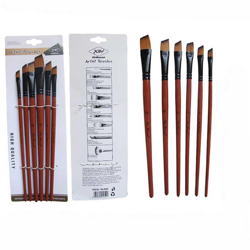 6 unids/set pintura cepillo pintura acuarela cepillos único Gancho Doble línea pluma arte suministros de pintura Accesorios