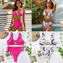 Mossha, белый женский купальник, бандо, бикини, 2020, Mujer, металлическая пряжка, пояс, женский купальник бикини, женский купальник 6