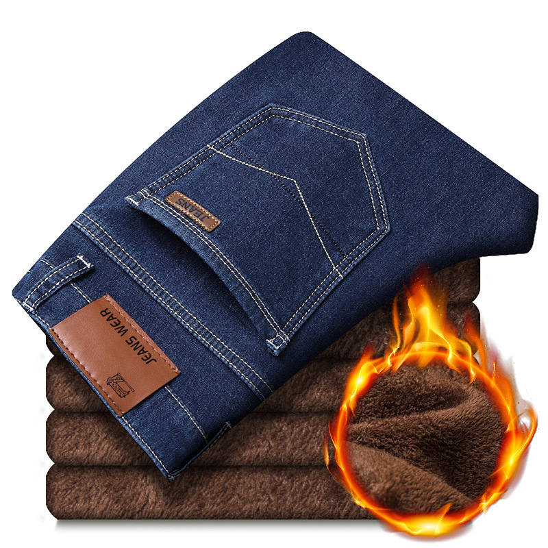 2019 Men's Winter Thermal Warm Flannel Stretch Jeans / Brand Fleece Pants / Warm Jeans For Men