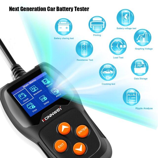 Konnwei KW600カーバッテリーテスター12vデジタルカラー画面自動バッテリーアナライザー100 2000CCAにクランキング充電車診断