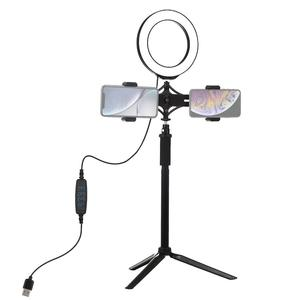 "Image 2 - 55cm Aluminium Tripod + 6.2"" 16 cm LED Ring Light for Makeup Vlog Video Live Stream + Dual Mobile Phone Holder for Redmi 7 iphon"