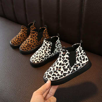 2020 New Autumn  Winter Children s Boots Fashionable Leopard Print Printed Non-Slip Warm Boys and Girls