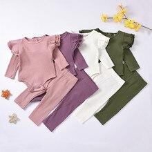 Детская одежда для новорожденных, одежда для мальчиков, девочек; Однотонный трикотажный комбинезон топы с длинными рукавами + штаны, компле...