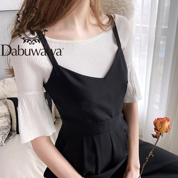Dabuwawa Solid O-Neck Ribbed Knit Casual Sweater Women Tops Half Flare Sleeve Form Fitted Ladies Basic Sweaters D18BJS013 solid ribbed knit roll neck jumper