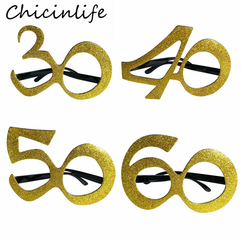 Chicinlife 1Pcs <font><b>30</b></font> <font><b>40</b></font> 50 60 Year Old Glasses Birthday Party Anniversary Men Women Funny Glasses <font><b>Frame</b></font> Photo Booth Props Supplies image
